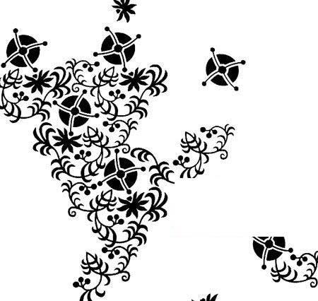 黑白花朵镂空剪影素材