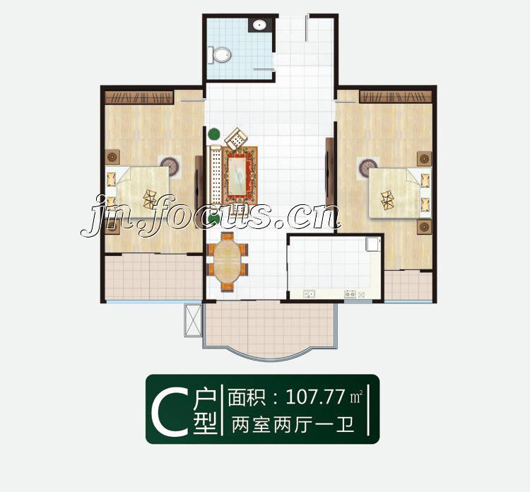 77平米两室两厅一卫c户型