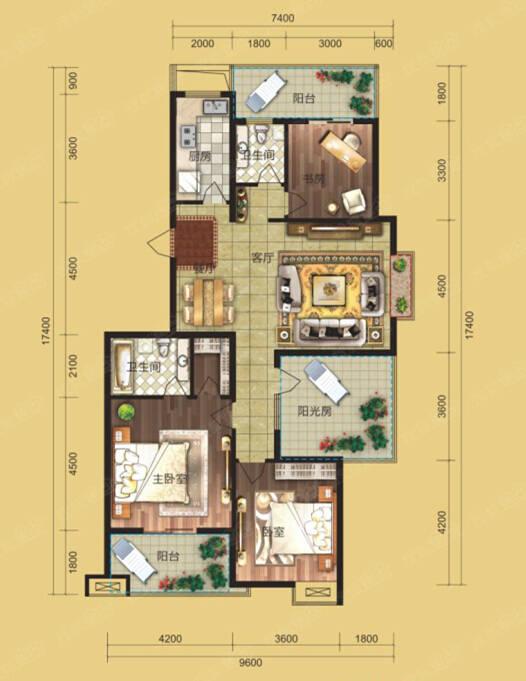 長方形設計,北面廚房衛生間,中間客廳和餐廳,南向臥室,使整個房子動靜
