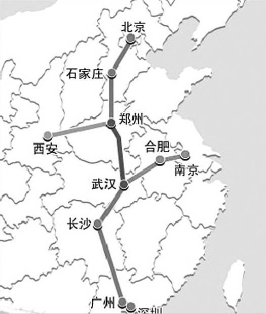 南京至上海至杭州高铁,武汉至宜昌高铁,广州至深圳高铁,广州至珠海