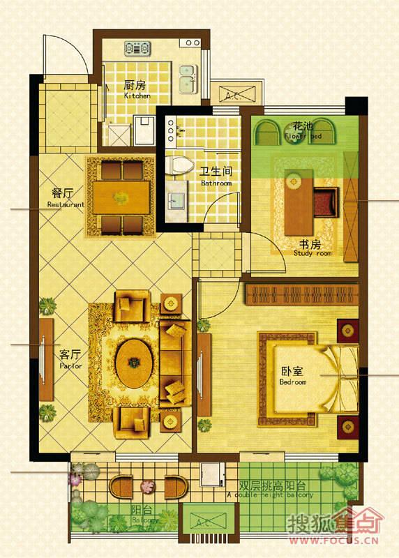 柯桥金地自在城三期格林格林(20#,21#楼)约78平米70b02,05室户型