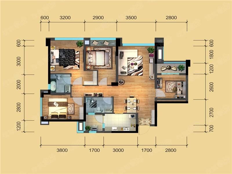 建发鹭洲国际二期b1居室4室2厅2卫b1户型图-成都手机