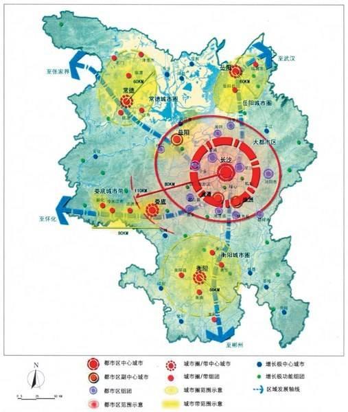 """《湖南省""""3+5""""城市群城镇体系规划(2009——2030)》总体空间结构规划"""