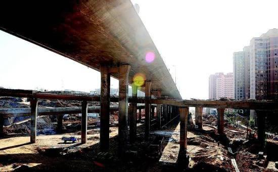 太原东中环与北中环互通立交桥施工已近尾声