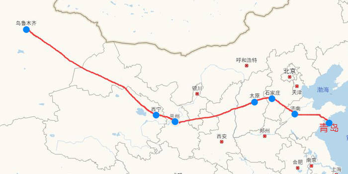包括乌鲁木齐,西宁,兰州,太原,石家庄,济南,青岛,将有望形成经济带和
