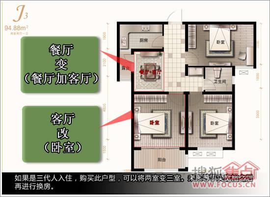 同时又是三代人入住,购买此户型,可以将两室变三室.