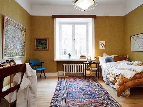 木纹墙纸北欧风 51平米别样精致单身公寓图片