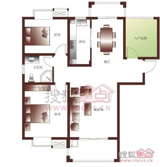 文元学府三室两厅一卫107平米户型