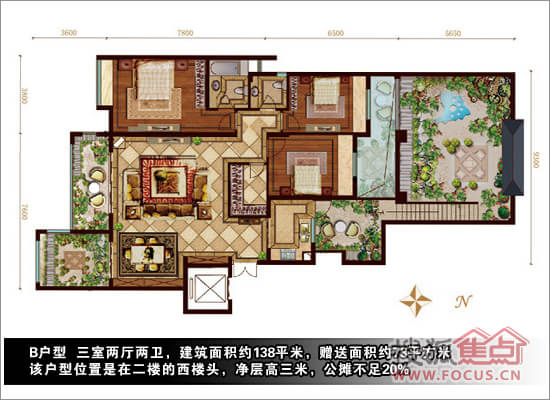 南北宽8米×东西长18米两层楼平面设计图(图12)