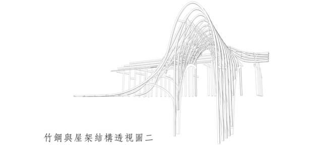 竹钢与屋架结构透视图   后来,我们把竹钢板全部切成小于一厘米