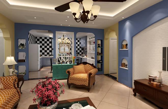 餐厅:厨房餐厅结合一体,两个拱形门做了一个隔断,中间巧妙地使用花格