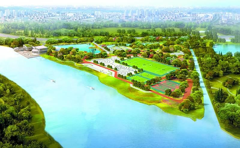 半月岛湿地公园设计图 半月岛是禅桂交界处东平路边的一个沙洲。半月岛湿地公园将是新开发的奇槎片区乃至石湾的户外休闲运动场所。公园以运动休闲、花海观鱼为设计特色,集运动、休闲和景观带为一体。其中,运动板块包括一个11人和一个7人足球场、两个篮球场;休闲板块包括一个超过4000平方米的市民广场及儿童活动场地,被约4公里的绿道环绕,可供公共活动、散步、骑行等;景观板块体现四季赏花特色,将种植细叶榕、宫粉紫荆、桂花、日本星花等植物。湿地公园还将建设景观栈道。公园约有公共停车位200个。 半月岛湿地公园总面积