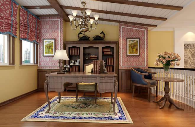 玄关:玄关的地方小,设计时只在居中地方拼了花片,没有加外圈的波打线,使空间不显得局促。 客厅:客厅的格子吊顶顶面刷明黄色漆,使梁于顶面的对比度加强。 楼梯间:楼梯间装饰、以圆形壁纸装饰,增加了田园气息,壁纸以上的地方刷漆,改变了楼梯间挑空地方,狭长的确定。