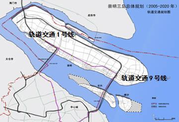 至崇明岛陈家镇和横沙岛;另外,规划预留轨道交通1号线通至城桥新城.