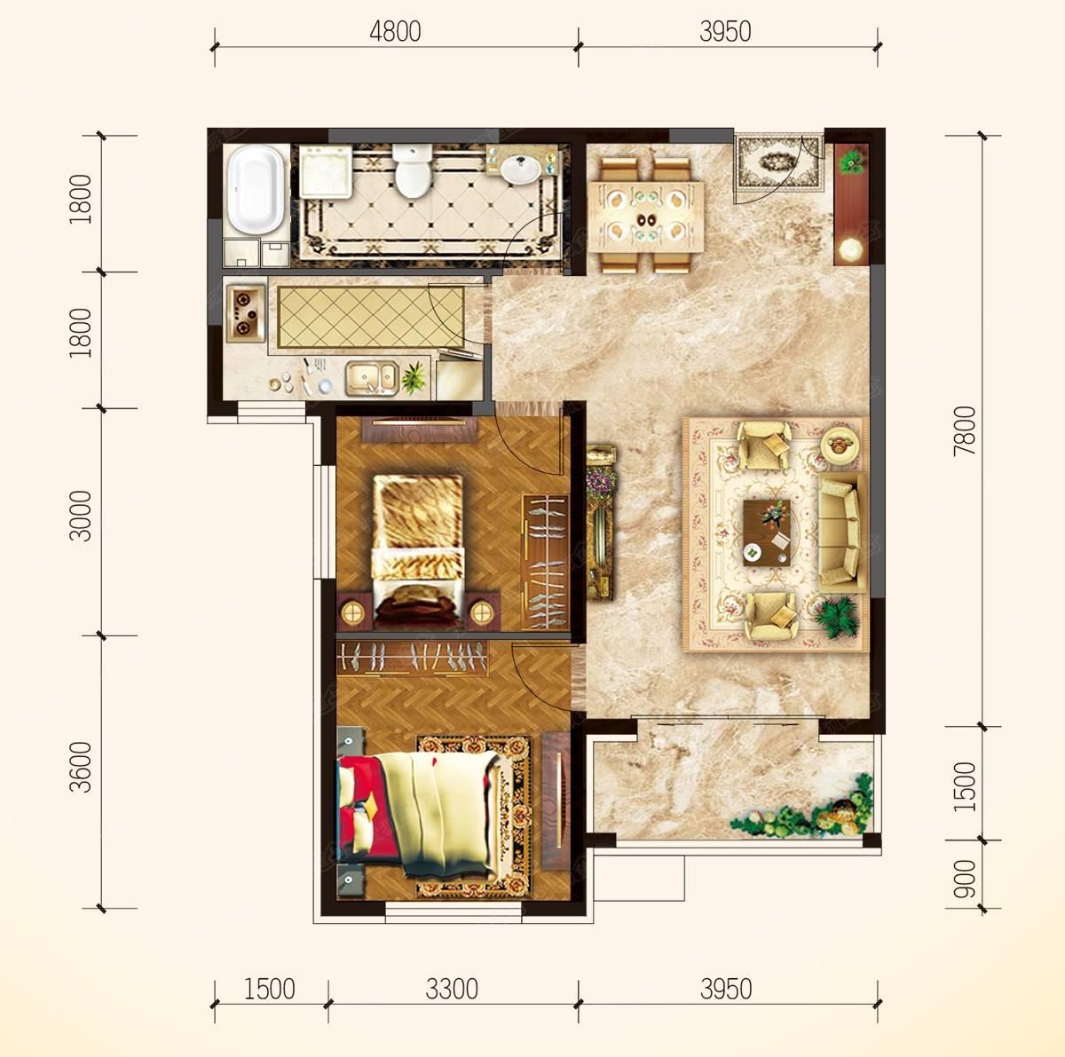 55平方做两房设计图