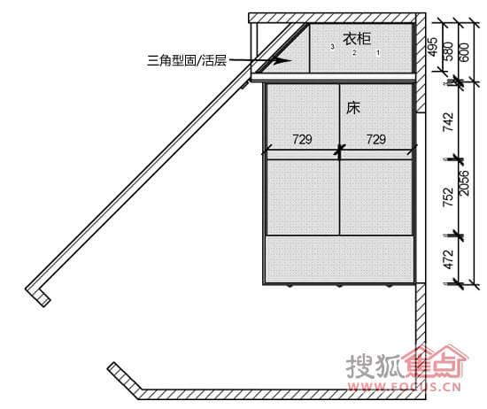 卧室衣柜平面布置图-定制奇迹 50㎡户型梯形空间衣柜设计方案出炉