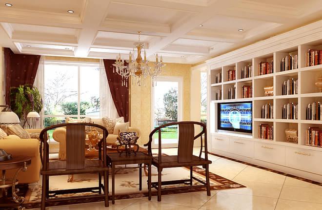 设计理念:本案为跃层,整体风格定位于古典欧式风格,客厅的书架有