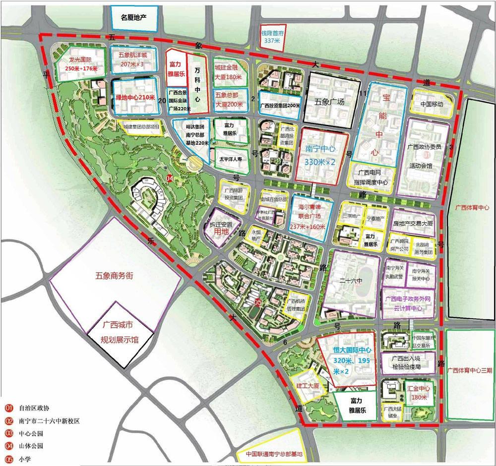 五象总部基地金融街项目分布(来源:南宁高楼迷) 总部基地建成后会是什么模样呢?数据显示,届时将建成123栋楼宇,其中,200米以上的有16栋(含4栋300米以上),最高的是357米双子塔南宁中心。目前,南宁中心已建至77层。