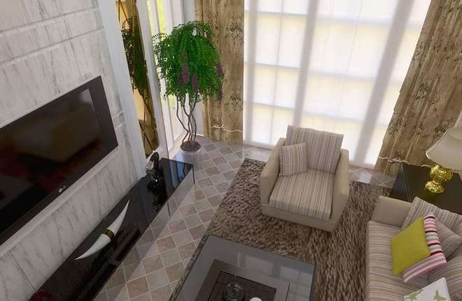 北京华贸城53平米loft厨房装修设计图片