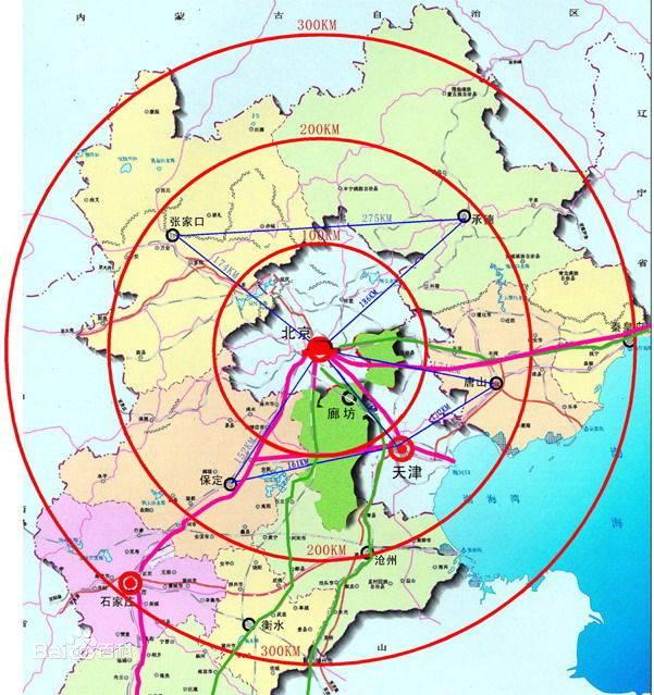 京津冀都市一体化城市群地图