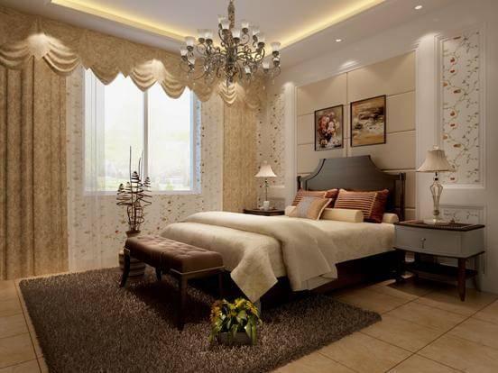 简单的墙面造型与墙纸巧妙的色彩融合,吊顶选用了九宫格和茶镜造型